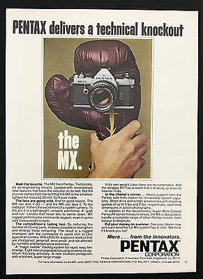 1978 Vintage Print Ad 1970s PENTAX MX Camera Equipment Photography Boxing Glove