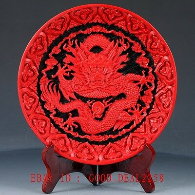 Chinese Lacquerware Handwork Carved Dragon Plate QQ23