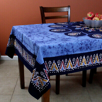 Handmade Paisley Mandala Multi Batik Tablecloth Cotton 60x60 Inches Square Blue