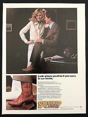 1978 Vintage Print Ad 1970s SANDERS BOOTS  Men's Foot Fashion Shoes