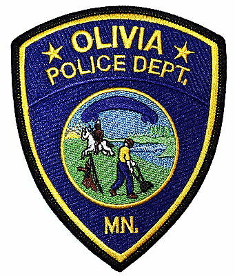 OLIVIA MINNESOTA MN Police Sheriff Patch STATE SEAL FARMER HORSE INDIAN NATIVE ~