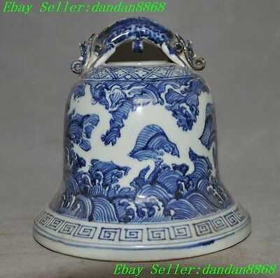 China Old Blue and white porcelain Pixiu dragon beast statue Hanging Zhong Bell