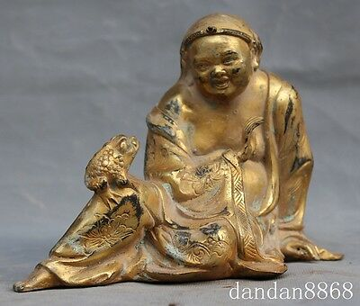 Old China fengshui bronze 24k gold Liu plays Golden toad lucky auspicious Statue
