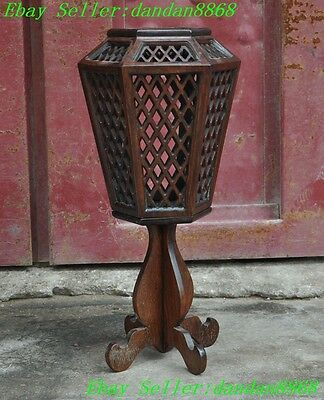 Chinese Huanghuali Wood Ancient Hollow Lantern Candle Holder Candlestick Statue