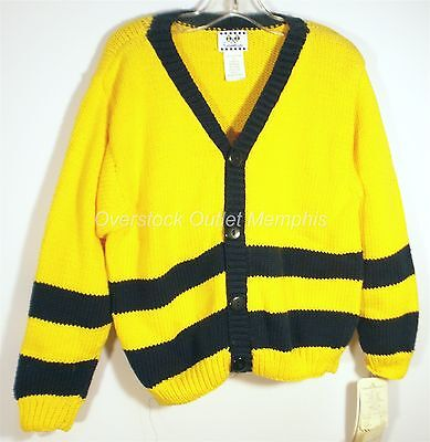 Florence Eiseman Size 6-7 Yellow and Navy V Neck Cardigan Sweater - NWT