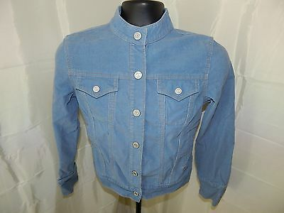 Women's Blue Gap Stretch Corduroy Snap Button Jacket W/Banded Collar Size Small