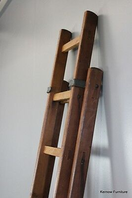 Antique Pitch Pine & Oak Telescopic Extending Library Ladder