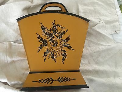 Vintage mustard French TOLE Toleware Hand Painted Magazine holder planter