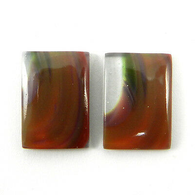 Nice 1 Pair Mexican Glass Gemstone 12x18mm Rectangle Cab 14.6 Cts Stone ER8998