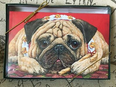 NEW Box Of 16 Brown Pug Embossed Christmas Cards Large Dog