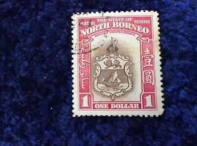 North Borneo $1 Brown & Red Very Fine Used SG 315. FAULTS - Foxing