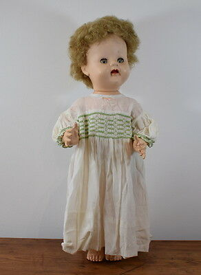 Vintage Hard Plastic Doll Made In England By Bnd / British National Dolls 21 Ins