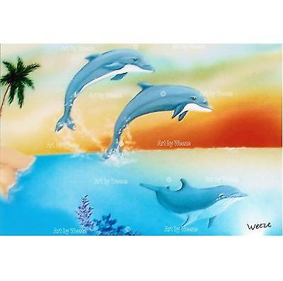Jumping Dolphins Art Print Ocean Sunset Picture