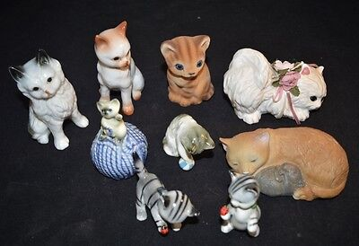 9 Vintage Cat Figurines