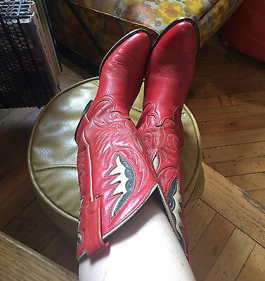 Women's Western Red Leather Cowboy Boots, Acme, Made in USA Size 7