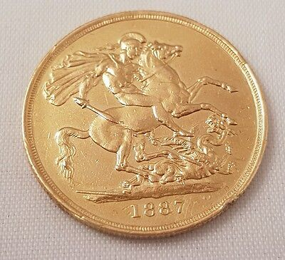 (1) Gold Victoria 1887 Two Pounds Coin