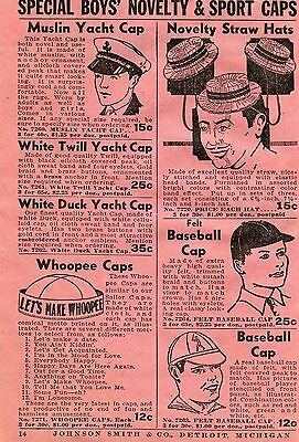 1936 Print Ad of Special Boys' Novelty & Sport Caps Muslin Yacht Straw & Whoopee