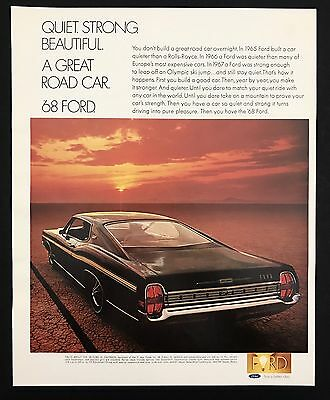 1960s Vintage Print Ad 1968 FORD XL FASTBACK Car Automobile Image Sunset