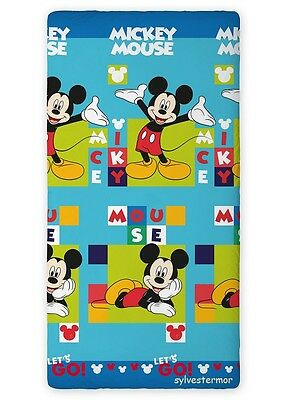 Disney MICKEY MOUSE Let's GO! SINGLE FITTED SHEET 90x200cm 100% COTTON +GRATIS