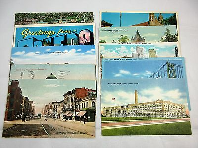 Toledo Ohio Postcard Lot of 10 - Summit St, Inverness, Church, Bridge, School