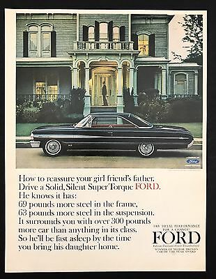 1960s Vintage Print Ad SUPER TORQUE FORD Black Car Automobile Image