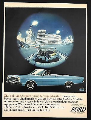 1960s Vintage Print Ad FORD XL Blue Car Automobile Image