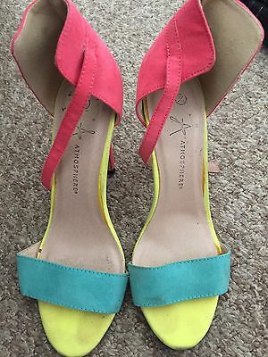 Atmosphere Bright Pink Yellow And Blue Ankle Strap Peep Toe Shoes Size 5