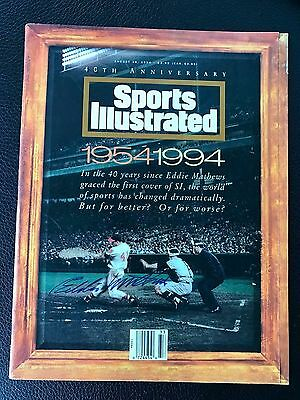 Eddie Mathews Signed Sports Illustraded Magazine Braves Hof