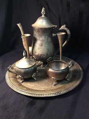 Antique Silverplate Tea Set with Candle Holders (CS3)