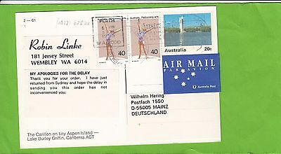 K 2215 1993 uprated 40c  pre stamped PO postcard airmail to UK; Canberra front