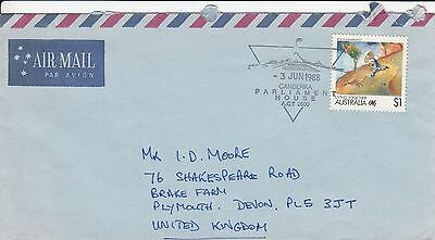 K 1847 June 1988 air cover UK; $1 Living together stamp Parliament House cancel