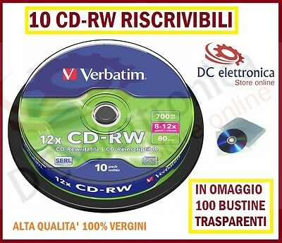 10 CD-RW RISCRIVIBILI VERBATIM VERIGINI 8-12X 700Mb PER AUDIO VIDEO + BUSTINE