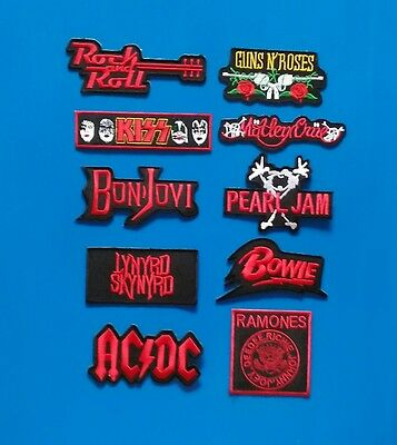 "10 LOT OLD TIME  ROCK N"" ROLL Embroidered Iron Or Sewn On Patches Free Ship"