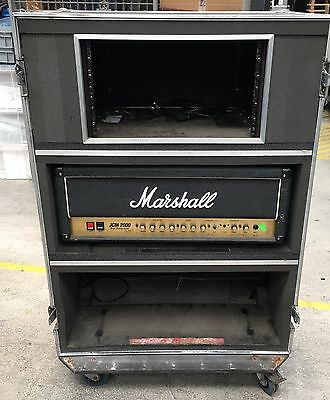 Dual amp live in flight road case for marshall amps or similar with 6u rack