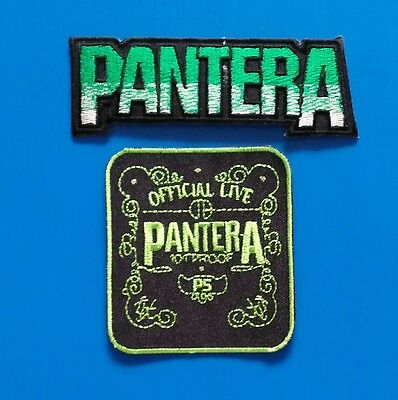 2 LOT PANTERA AMERICAN HEAVY METAL BAND Embrodered Iron/Sewn On Patch Free Ship