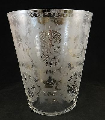 "Large Antique Hand Blown  19th c. Glass. Stiegel type etched design. 7 7/8"" tall"