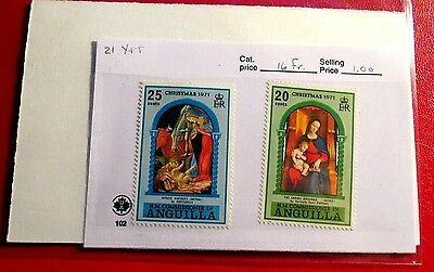Anguilla set of two 1971 Christmas issue mint Stamps  NH  ST32