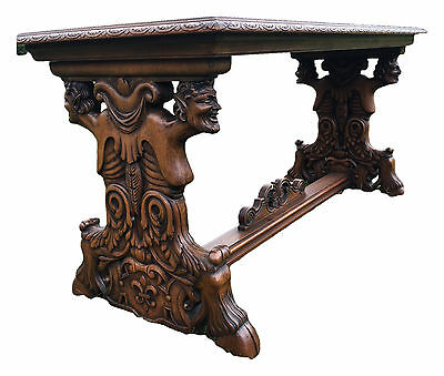 Antique French Gothic Coffee Table,Walnut Circa 1920 Carved Demons Satyr Centaur