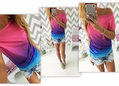 1PC Fashion Summer Women Blouse Loose Casual Short Sleeve T-Shirt Tee Tops M
