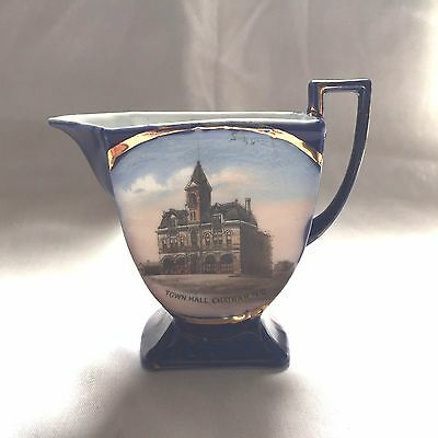 """Antique Souvenir 3 1/2"""" Pitcher Of Chatham New Brunswick Canada Town Hall"""