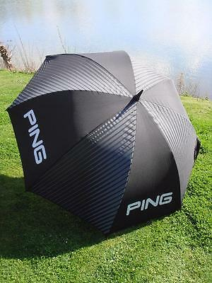 "Ping Golf - New 2017 - 62"" Standard Black/GreyUmbrella + FREE Ping Tour Tees"