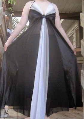 Sissy Black Long Bias Top Bust Sweep Sheer Overlay Satin Nightgown Lingerie-XL