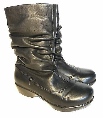 Dansko Black Leather Slouch Mid Calf Boots, Size 38 US 8