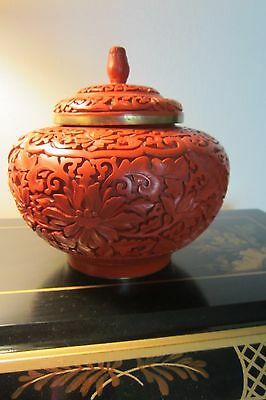 Republic Period Chinese Carved Cinnabar Ginger Jar w/ ORIGINAL BOX! RARE