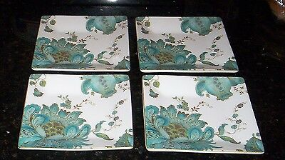 222 Fifth Eliza Teal  Appetizer Canape Party Plates  NWT S/4