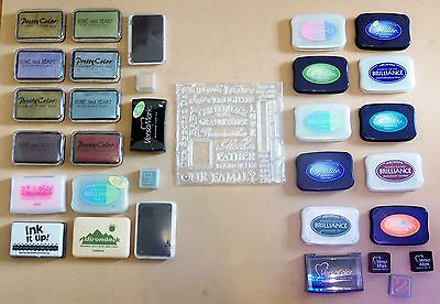 31 Pigment Ink Pads and Rubber Stamp Set some new some used.