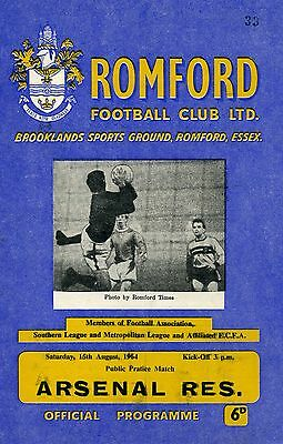Romford v Arsenal Reserves, 15/8/64, Friendly