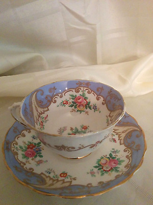 Plant Tuscan China Teacup & Saucer, Blue Floral Design with Gold Trim