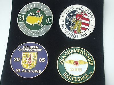 Boxed set of  4 FLAT1 in Golf ball marker 2005 Majors US Open, PGA, Masters etc