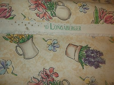 Longaberger flower pots fabric, sewing quilts, curtains, 4 1/3 yds, 55 wide